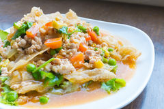 Fried noodle in minced pork Stock Photo
