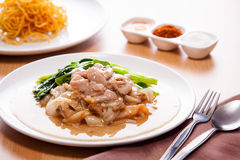 Fried noodle with pork in gravy. Radnha fried noodle with pork in gravy Stock Images