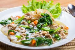 Fried noodle with pork stock image