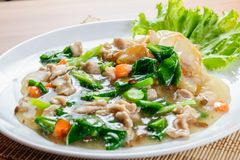 Fried noodle with pork stock photography