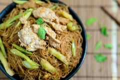 Fried noodle with pork at an angle closer see noodles. royalty free stock photos