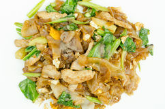 Fried noodle and pork. Fried noodle with soy sauce and pork Stock Photography