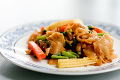 Fried noodle with pork. And vegetable Royalty Free Stock Photo