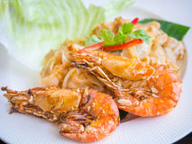 Fried noodle with prawn Royalty Free Stock Images