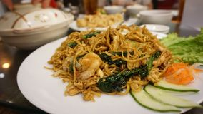 Fried noodle. In restaurant stock images