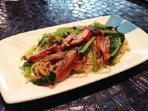 Fried noodle with roasted duck Royalty Free Stock Photo