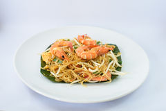 Fried noodle with seafood(shrimps) royalty free stock photography