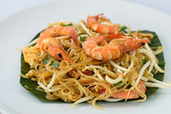 Fried noodle with shrimps Stock Photos