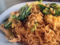 Fried noodle. Thai fastfood delicious noodle with pork royalty free stock image