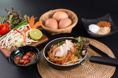 Fried noodle Thai style with prawns Stir fry noodles with shrimp Stock Image