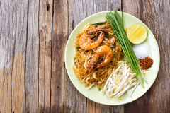 Fried noodle Thai style with prawns. Royalty Free Stock Image