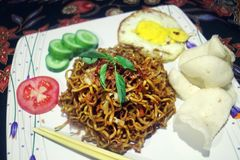 Fried Noodle Traditional Indonesian Menu royaltyfri foto