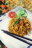 Fried Noodle Traditional Indonesian Menu lodlinje arkivbilder