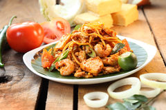 Fried Noodles. Asian hawker spicy fried noodles Royalty Free Stock Photo
