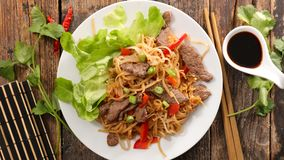 Fried noodles with beef Stock Images