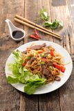 Fried noodles with beef Royalty Free Stock Photography