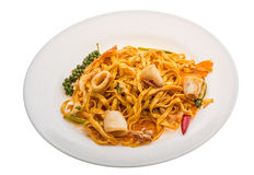 Fried noodles with calamari Royalty Free Stock Photos