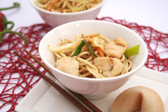 Fried noodles with chicken Royalty Free Stock Images