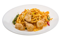 Fried noodles with chicken Royalty Free Stock Image