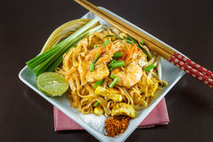 Fried Noodles cooking with fresh shrimp Royalty Free Stock Photos