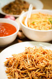 Fried noodles are delicious and healthy dish Stock Image