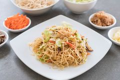 fried noodles on plate Stock Photos