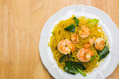 Fried noodles with prawns Stock Photos