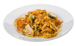 Fried noodles with shrimps royalty free stock photo