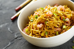 Fried noodles with shrimps Stock Photos