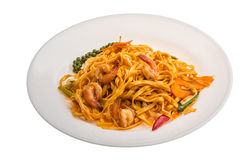 Fried noodles with shrimps. And vegetables isolated royalty free stock photo