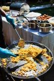 Fried Noodles thaïlandais dans la casserole Photos stock