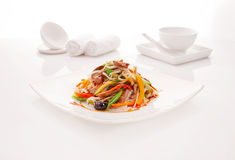 Fried noodles udon with beef and vegetables Stock Image