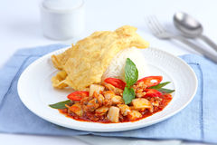 Fried omelet topped on rice with spicy fried with Clams Royalty Free Stock Image