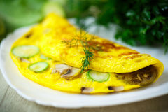 Fried omelette with zucchini Stock Photography