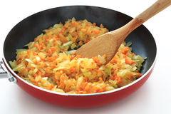 Fried onion and carrot Royalty Free Stock Image