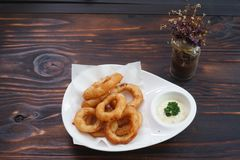 Fried onion. Rings fried ketchup food fries stock photo
