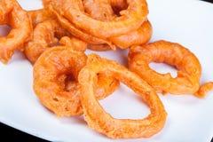 Fried Onion Ring in alimenti a rapida preparazione Immagini Stock