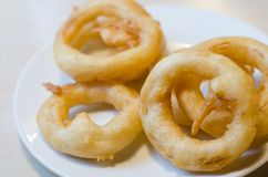 Fried onion ring on white dish royalty free stock images