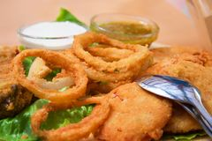 Fried onion rings royalty free stock photography