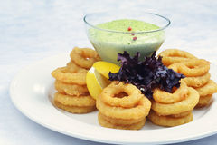 Fried onion rings. With green souse Stock Photos