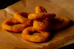 Fried onion rings. Hot tasty Fried onion rings royalty free stock photos