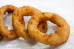 Fried onion rings on the paper Stock Images