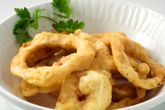 Fried onion rings on the plate Stock Photo