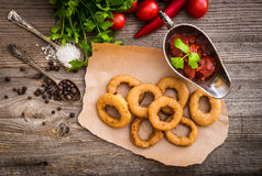 Fried onion rings with vegetables and spices Royalty Free Stock Photos