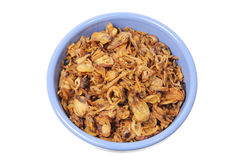 Fried Onions in Bowl Stock Image