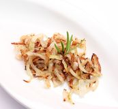 Fried onions. Some fresh fried onions on a plate Stock Image