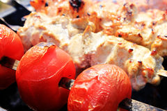 Fried on an open fire tomatoes and barbecue. Barbecue and tomatoes fried on an open fire Stock Photos