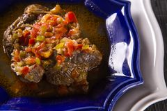 Fried ossobuco with vegetable ragout.  Stock Images