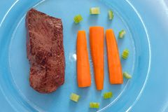 Fried ostrich meat with carrots as top view Stock Images