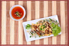 """Fried oyster with bean sprouts and shallot as """"Hoi Tod"""" in Thai . Side View. Fried oyster with bean sprouts and shallot as """"Hoi Tod"""" in Thai served Royalty Free Stock Photo"""